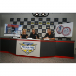 Random image: Chandra and Jimmie announce the Victory Lanes bowling alley with Bill Edwards, Senior VP of Lowe