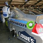 Jimmie climbing in the No. 48 Lowe's/Jimmie Johnson Foundation Chevy Impala (Fontana, 2012)