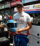 IZOD IndyCar Series Driver Graham Rahal with the Blue Bunny Helmet of Hope (Indianapolis, 2012)