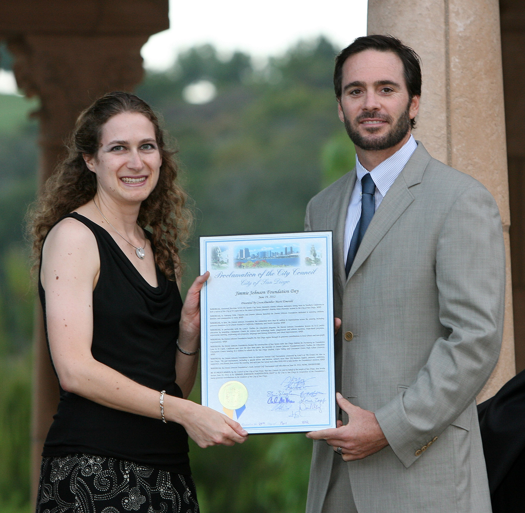 "June 19th was proclaimed ""Jimmie Johnson Foundation Day"" in the city of San Diego by City Council Member Marti Emerald's office (San Diego, 2012)"
