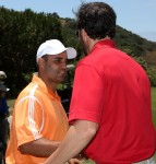 Jimmie greets friend and fellow NASCAR driver Juan Pablo Montoya (San Diego, 2012)