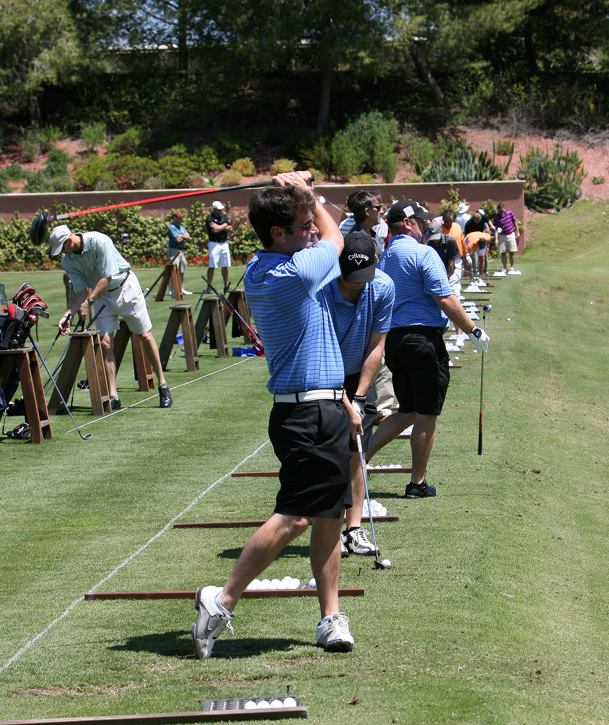 Participants practicing their swings before the tournament kicked off (San Diego, 2012)