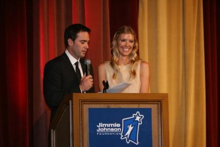 Jimmie and Chandra welcome guests to the 3rd Annual Jimmie Johnson Foundation Golf Tournament Dinner at the Grand Del Mar (San Diego, 2009).
