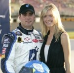 Jimmie and Chandra with the Follow Me to Victory Helmet before the debut of the #48 Jimmie Johnson Foundation/Lowe's Monte Carlo SS (California Speedway - September 2006).