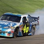 Jimmie celebrating his win in the No. 48 Lowe's/Jimmie Johnson Foundation Chevy Impala SS at Auto Club Speedway (Fontana, CA - October 7, 2009).