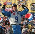 Jimmie celebrating his win at Auto Club Speedway in the No. 48 Lowe's/Jimmie Johnson Foundation Chevy Impala SS (Fontana, CA - October 11, 2009)
