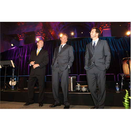 Samsung President for Consumer Business Division, Tim Baxter, Dan Marino and Jimmie Johnson at the Samsung Hope for Children Gala (NYC, 2010)
