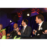 ESPN's Bonnie Bernstein, Bernie Williams, Jimmie and Matthew McConaughey during Samsung Hope for Children Chalk Talk (NYC, 2010)