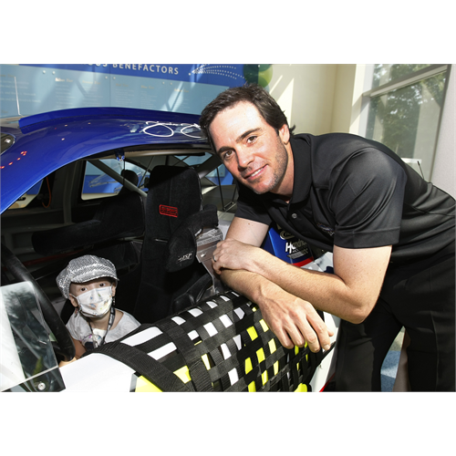 Jimmie visited Levine Children's Hospital in Charlotte, NC on August 12th to unveil the Dream Racers - four NASCAR inspired patient transport cars designed to move kids around the hospital. (Charlotte, NC - August 2010)