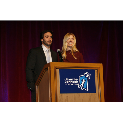 Chandra and Jimmie Johnson welcome guests to the 2010 Jimmie Johnson Foundation Dinner and Auction on October 5, 2010 at the Grand Del Mar (San Diego, 2010)
