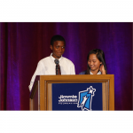 Emerald Middle School students, Jeantrevion (J.T.) and Maui express their gratitude and thanks for the STEM lab that was built with the $100,000 Champions Grant (San Diego, 2010).