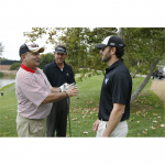 Jimmie and Jeff Bennett talk golf strategy at the Golf Tournament (San Diego, 2010).