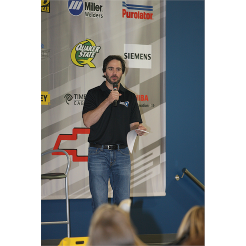 Jimmie answering question from All-Star Club members at Foundation Fest at Hendrick Motorsports (Charlotte, 2010).