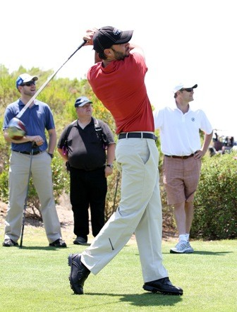 Jimmie teeing off at the 5th Annual JJF Golf Tournament. (San Diego, 2011).
