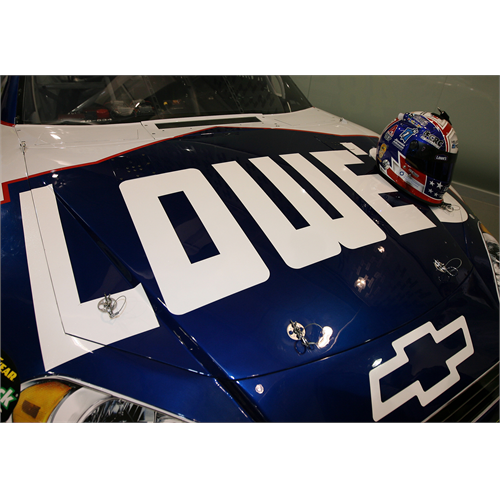 The No. 48 Lowe's show car and the Helmet of Hope (Charlotte, 2011)