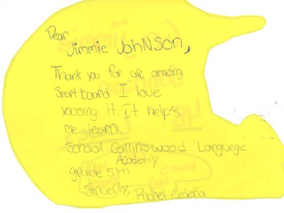 Thank You note from a Collinswood Language Academy student (Charlotte, 2009)