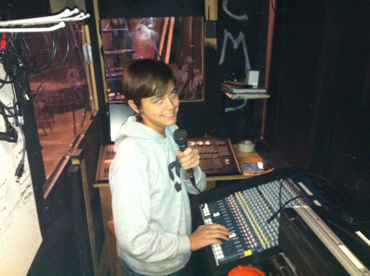 Grossmont HS student monitoring the new sound board during a performance (El Cajon, 2010)