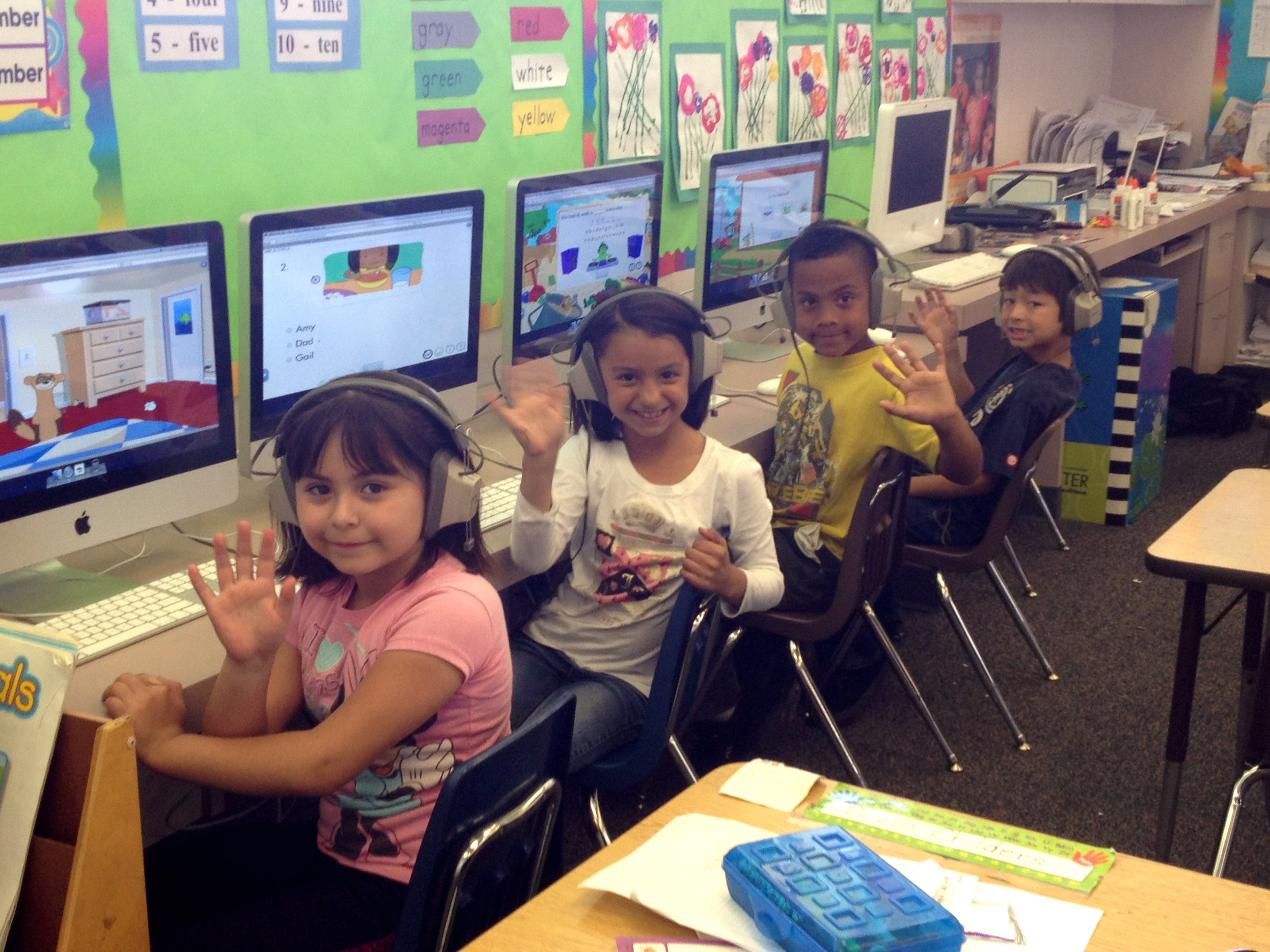 Magnolia Elementary School students with their iMacs and Imagine Learning software (El Cajon, 2011)
