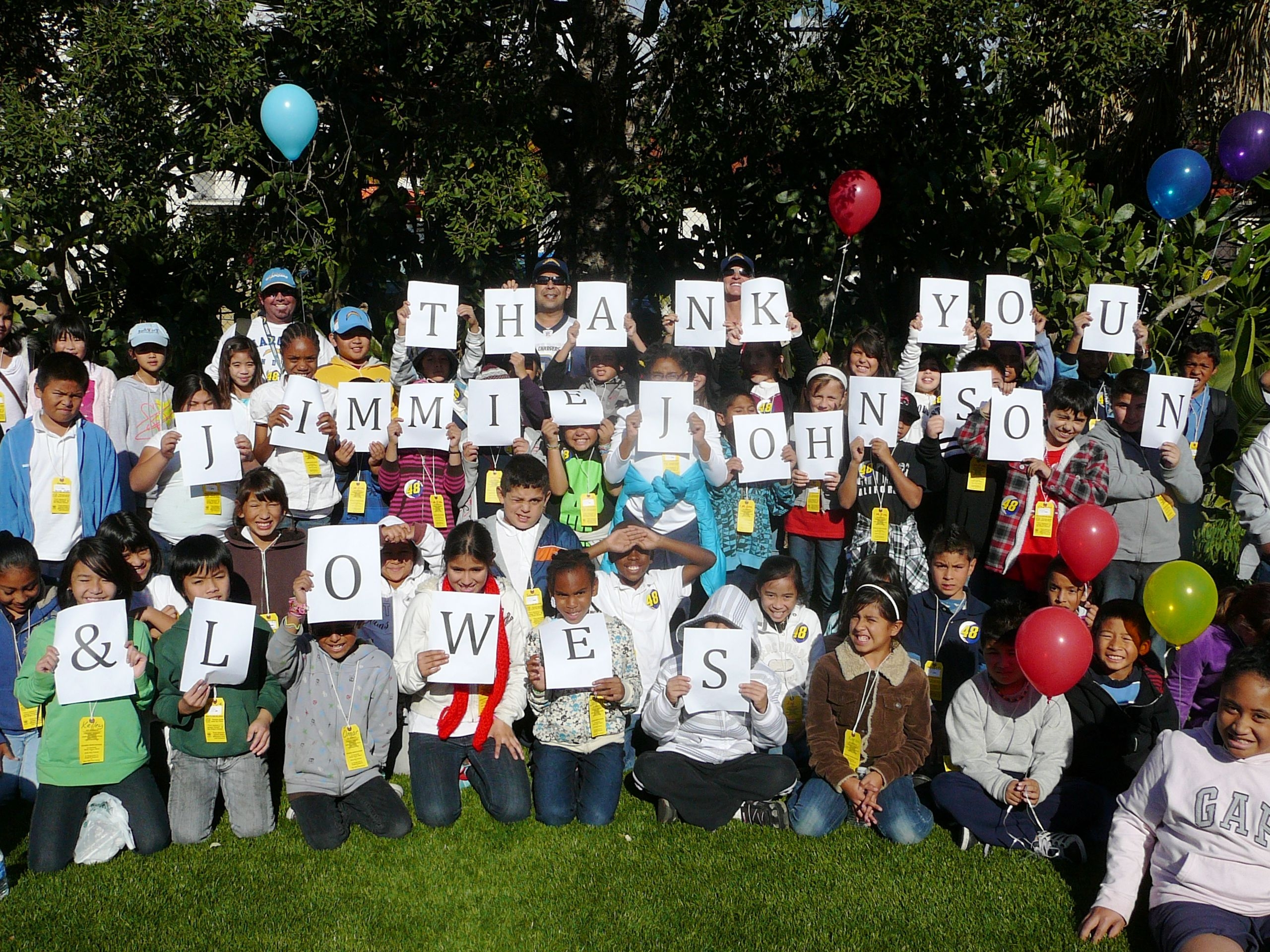 San Diego Unified School District's OCILE students thank the Jimmie Johnson Foundation (San Diego, 2010)