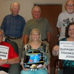 Members of an Alzheimer's Association Florida Gulf Coast support group enjoying their time with the helmet (Clearwater, 2012)