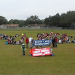 "Students and staff form a ""48"" to thank the foundation for their grant (Lakeland, 2012)"