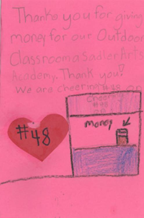 Thank You card from a Sadler Arts student (Muskogee, 2009)