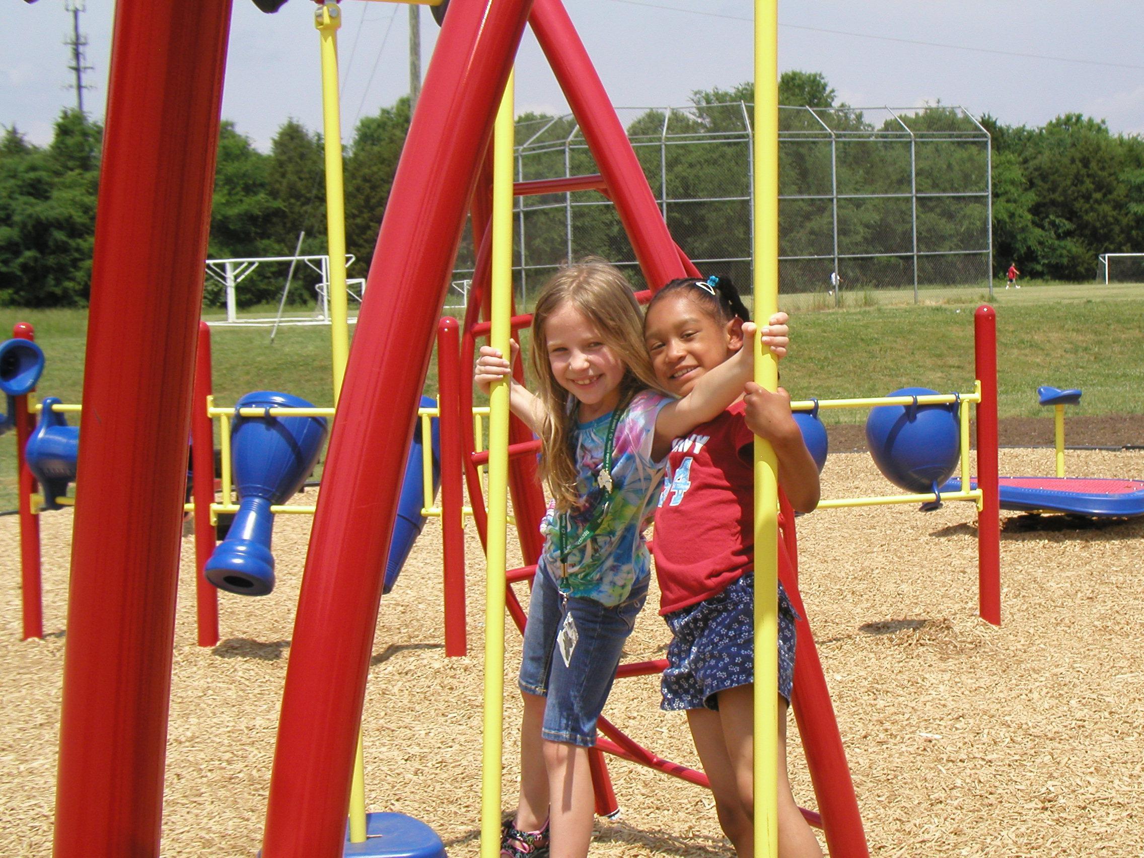 Students enjoying the new Smithfield Elementary playground (Charlotte, 2009)