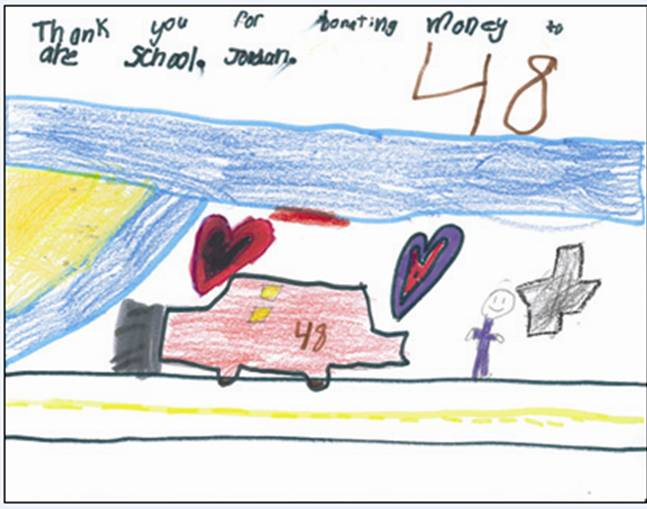 Thank You Card from a Tony Goetz Elementary student (Muskogee, 2009)