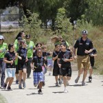 Jimmie running with Chase Avenue Elementary Running Club Members (El Cajon, 2013)